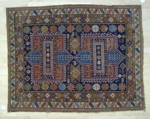 Shirvan throw rug, ca. 1930, 5' x 3'11