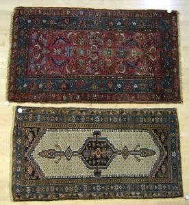 Two Hamadan throw rugs, ca. 1930, 6'3