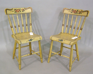 Pair of painted plank seat chairs, 19th c.