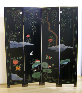 Japanese four part folding screen, mid 20th c., 72