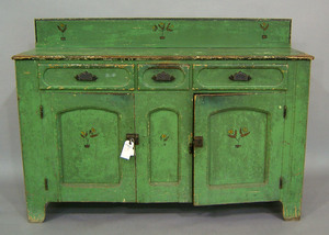 Painted jelly cupboard, 19th c., 43 1/4