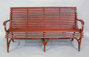 Red painted bentwood settee, early 20th c., 31 1/2
