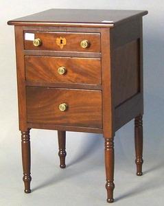 Sheraton mahogany 3-drawer stand, ca. 1830, 27 3/4