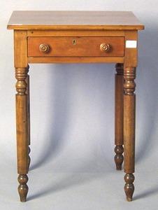 Sheraton cherry one drawer stand, 19th c., 27 1/4