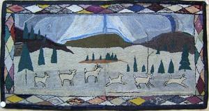 Hooked rug with deer in landscape, 38