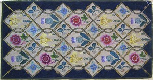 Floral pattern hooked rug, early 20th c., 40