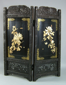 Chinese carved two part folding screen, late 19th.