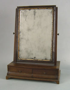 George II mahogany shaving mirror, 18th c., with r