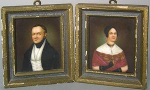 Pair of painted porcelain miniature portraits,19th