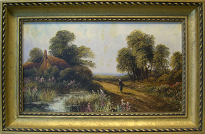 Pair of late 19th c. oil on canvas country landsca