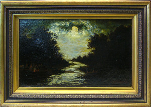 After Ralph Blakelock oil on canvas landscape, 12