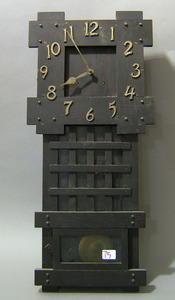 Arts and Crafts oak wall clock, early 20th c., tog