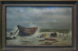 M.M. Davis(1890), oil on canvas coastal scene, 12