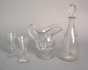 Four pcs. of Anglo Irish glass, 19th c., including