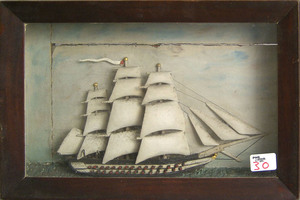 Carved and painted ship diorama, early 20th c., 11