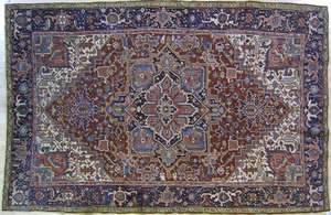 Roomsize Heriz rug, ca. 1920, with central medalli