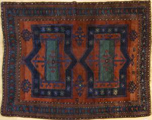 Armenian Kazak throw rug, ca. 1910, with 2 medalli