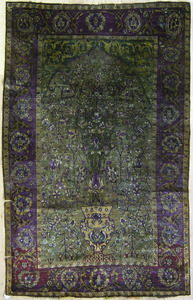 Isphahan silk throw rug, 19th c., with floral deco