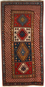 Kazak throw rug, ca. 1900, with 4 medallions and r