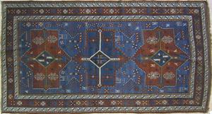Kazak throw rug, ca. 1900, in an akstafa design wi