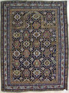 Shirvan prayer rug, ca. 1900, with repeating medal