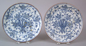 Pair of English, Bristol or Wincanton, delft plate