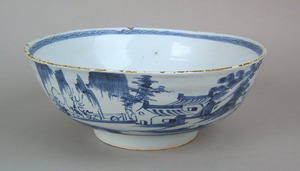 English delft punch bowl, ca. 1735, with blue andh