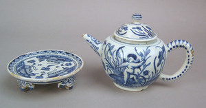Delft blue and white teapot, possibly Dutch, mid 1