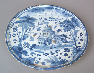 Continental delft blue and white tazza, ca. 1700,i