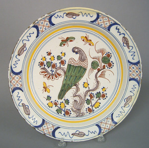 Dutch delft charger, mid 18th c., with polychromee