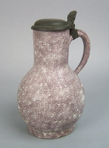 Delft jug, 18th c., with pewter lid and powdered m