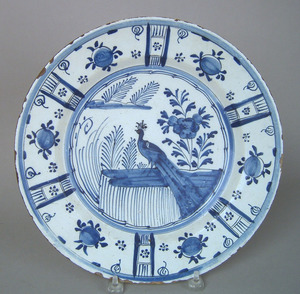 English delft blue and white charger, ca. 1730, wi