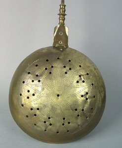 Brass and iron warming pan, 18th c., with star pun