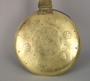 English brass and wrought iron warming pan, late 1