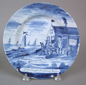 Dutch delft plate with scene of fisherman, inscrib