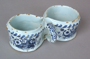 Continental delft blue and white fuddling cup, mid
