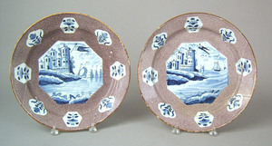 Pair of English, probably Bristol, delft chargers,
