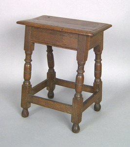 William & Mary white oak joint stool, ca. 1710, po