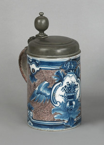 Continental delft tankard, early 18th c., with pew
