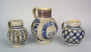 Three German Westerwald mugs, 18th c., one with