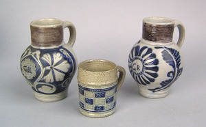 Two German Westerwald mugs, 18th c., with