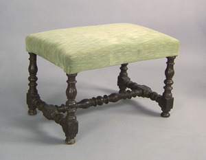 George I walnut stool, ca. 1710, with upholsteredr