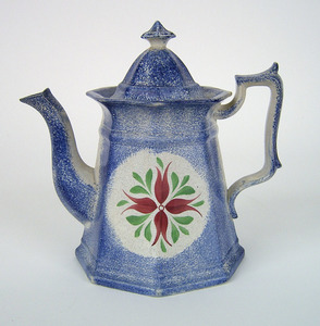 Blue spatter paneled teapot with cluster of buds,