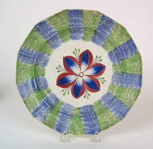 Blue and green rainbow spatter paneled plate witha