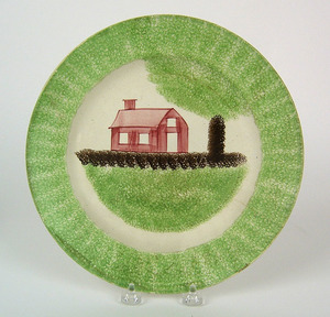 Green spatter plate with red schoolhouse, 10 1/4
