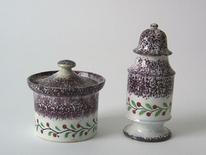 Purple spatter shaker and sugar, 19th c., with ber