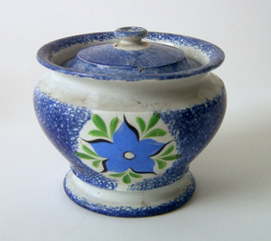 Blue spatter sugar, 19th c., with morning glory, 4