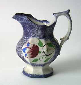 Purple spatter paneled pitcher with tulip, 5 1/2