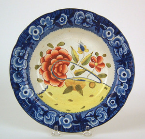 Gaudy Dutch shallow bowl, 19th c., in the oyster p