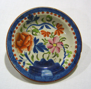 Gaudy Dutch cup plate, 19th c., in the double rose